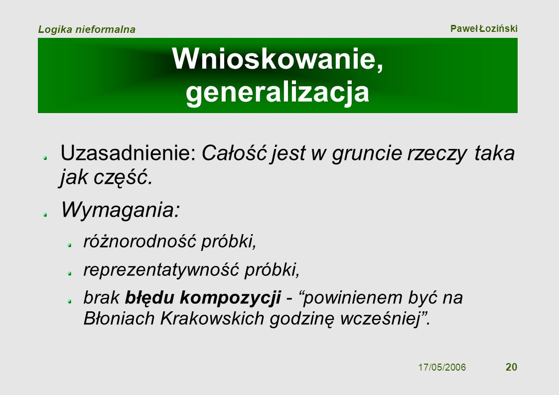 Paweł Łoziński Logika nieformalna 17/05/2006 20 Wnioskowanie, generalizacja Uzasadnienie: Całość jest w gruncie rzeczy taka jak część. Wymagania: różn