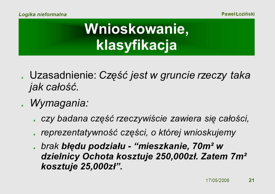 Paweł Łoziński Logika nieformalna 17/05/2006 21 Wnioskowanie, klasyfikacja Uzasadnienie: Część jest w gruncie rzeczy taka jak całość. Wymagania: czy b