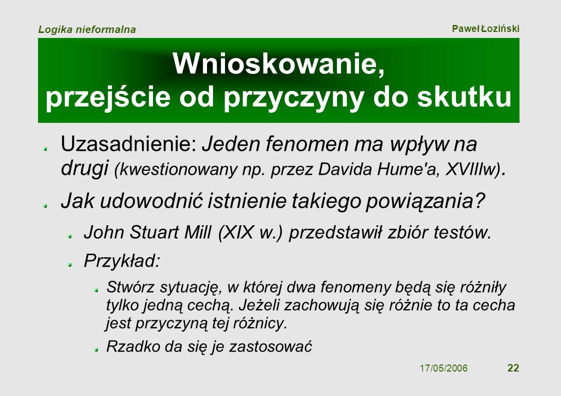 Paweł Łoziński Logika nieformalna 17/05/2006 22 Wnioskowanie, przejście od przyczyny do skutku Uzasadnienie: Jeden fenomen ma wpływ na drugi (kwestion
