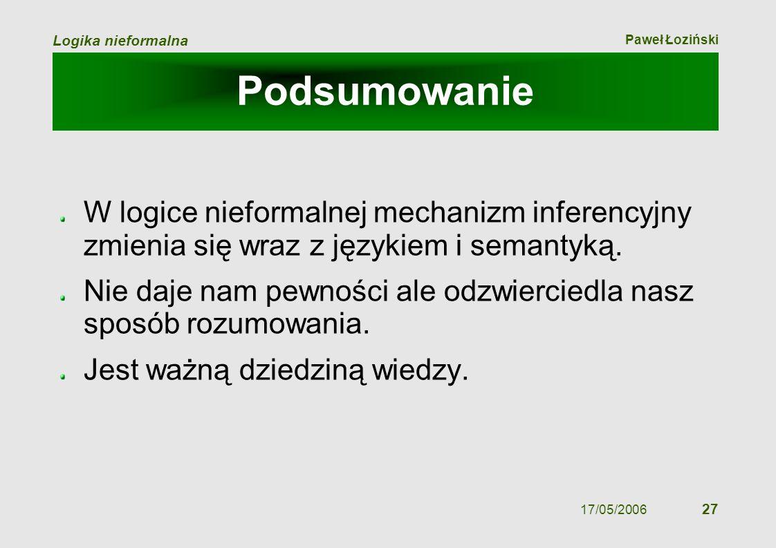 Paweł Łoziński Logika nieformalna 17/05/2006 27 Podsumowanie W logice nieformalnej mechanizm inferencyjny zmienia się wraz z językiem i semantyką. Nie