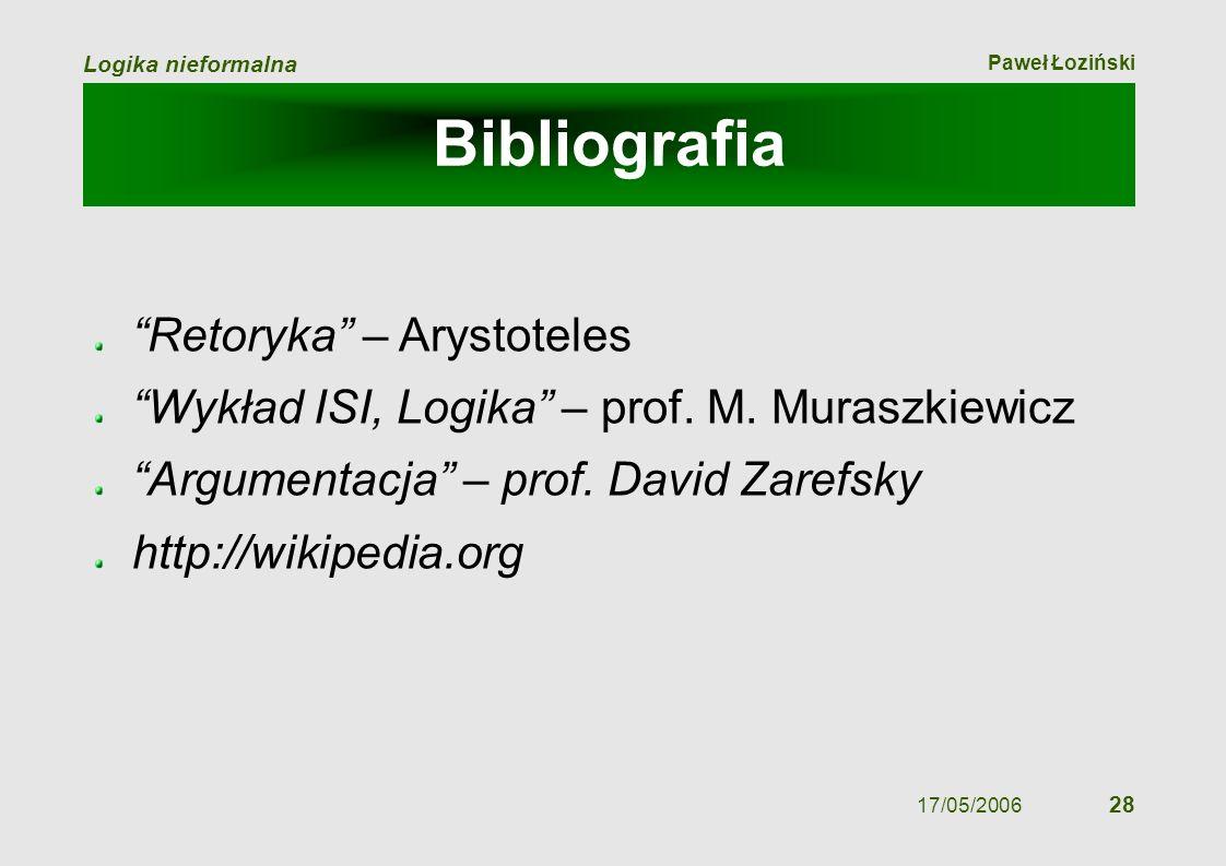 Paweł Łoziński Logika nieformalna 17/05/2006 28 Bibliografia Retoryka – Arystoteles Wykład ISI, Logika – prof. M. Muraszkiewicz Argumentacja – prof. D