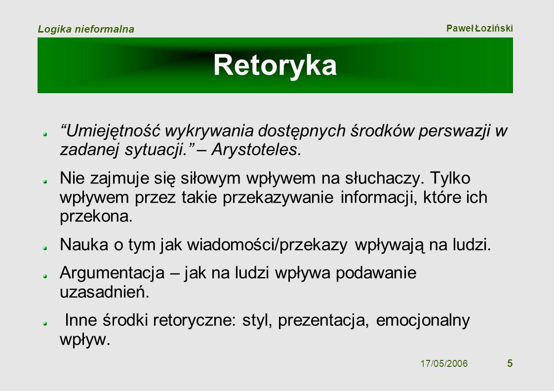 Paweł Łoziński Logika nieformalna 17/05/2006 5 Retoryka Umiejętność wykrywania dostępnych środków perswazji w zadanej sytuacji. – Arystoteles. Nie zaj