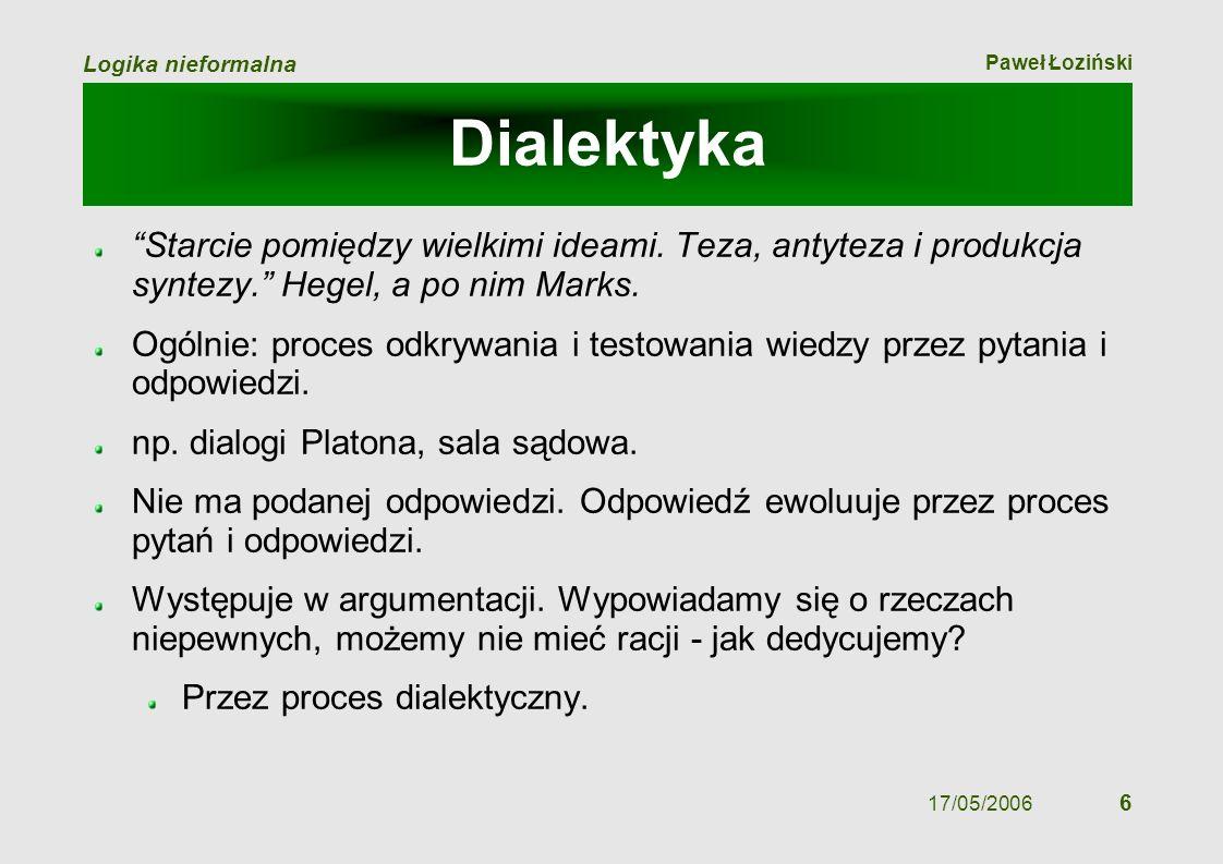 Paweł Łoziński Logika nieformalna 17/05/2006 6 Dialektyka Starcie pomiędzy wielkimi ideami. Teza, antyteza i produkcja syntezy. Hegel, a po nim Marks.