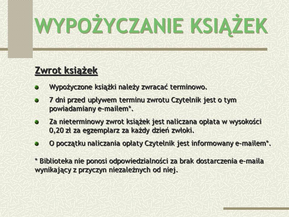 Limity wypożyczeń Maksymalnie wypożyczyć można: studenci Politechniki Śląskiej – 10 książek na 5 miesięcy, pracownicy i doktoranci Politechniki Śląski