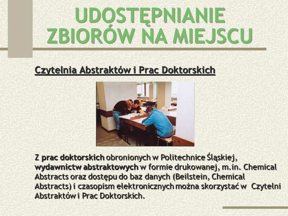 Polskie i zagraniczne czasopisma naukowo-techniczne oraz prasa codzienna znajdują się w Czytelni Czasopism. Czasopism nie wypożycza się, można natomia