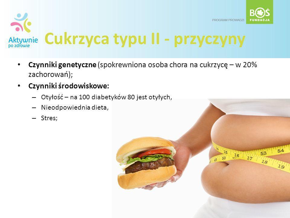 Cukrzyca typu II - przyczyny Czynniki genetyczne (spokrewniona osoba chora na cukrzycę – w 20% zachorowań); Czynniki środowiskowe: – Otyłość – na 100