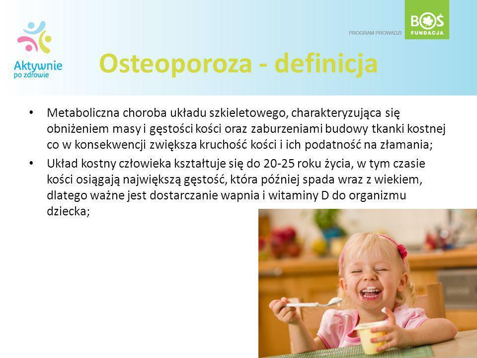 Osteoporoza - definicja Metaboliczna choroba układu szkieletowego, charakteryzująca się obniżeniem masy i gęstości kości oraz zaburzeniami budowy tkan