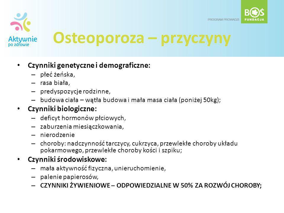Osteoporoza – przyczyny Czynniki genetyczne i demograficzne: – płeć żeńska, – rasa biała, – predyspozycje rodzinne, – budowa ciała – wątła budowa i ma