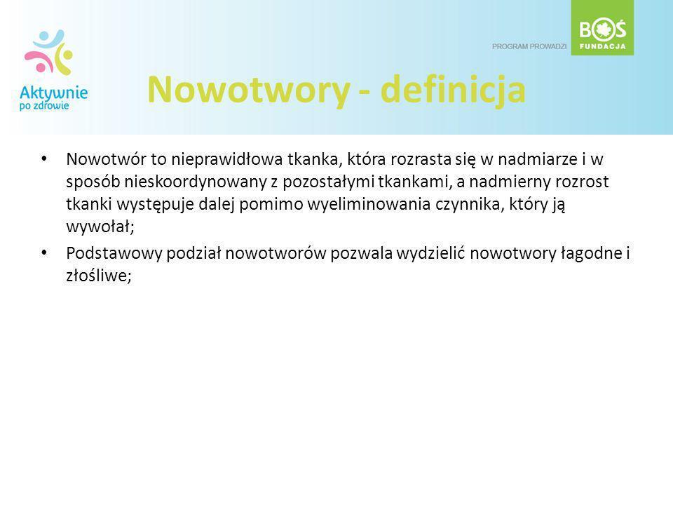 Nowotwory - definicja Nowotwór to nieprawidłowa tkanka, która rozrasta się w nadmiarze i w sposób nieskoordynowany z pozostałymi tkankami, a nadmierny