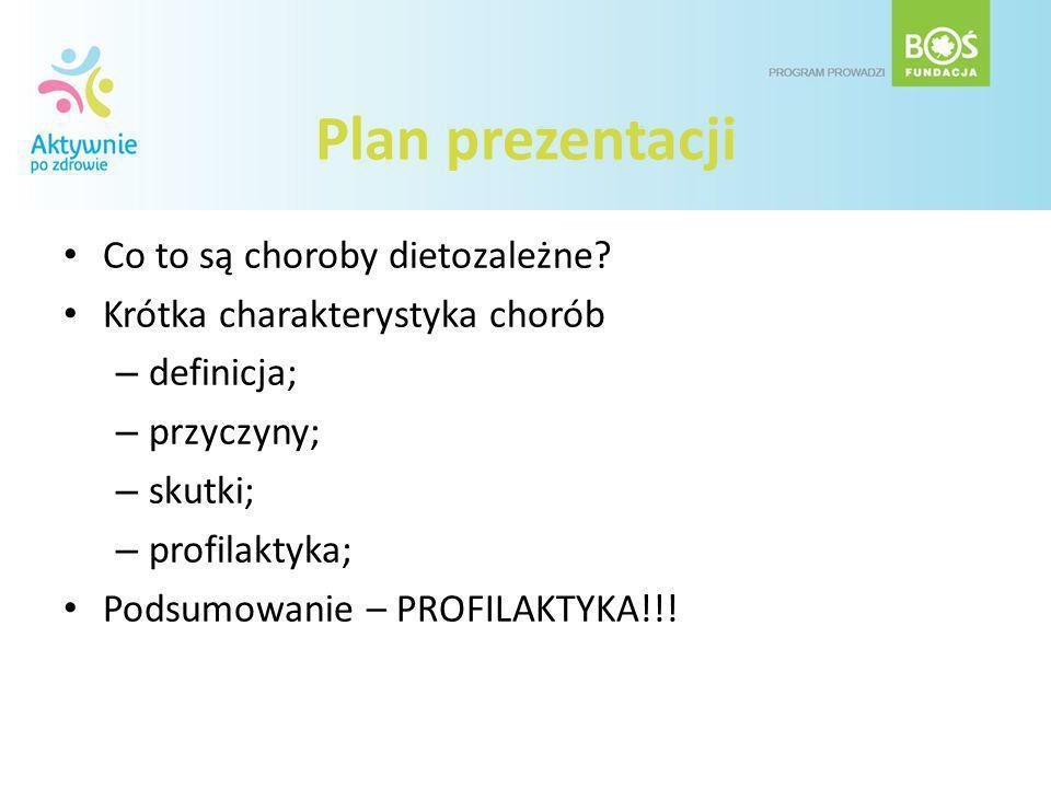 Plan prezentacji Co to są choroby dietozależne? Krótka charakterystyka chorób – definicja; – przyczyny; – skutki; – profilaktyka; Podsumowanie – PROFI