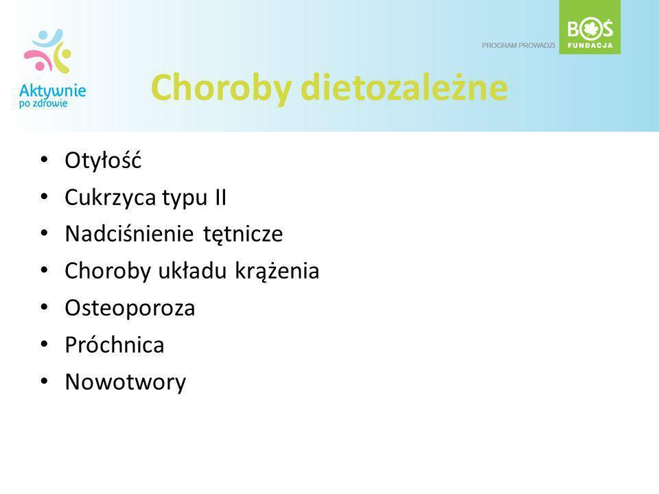 Choroby dietozależne Otyłość Cukrzyca typu II Nadciśnienie tętnicze Choroby układu krążenia Osteoporoza Próchnica Nowotwory