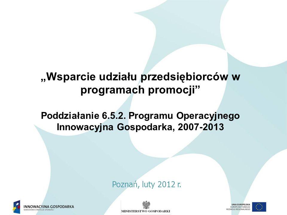 Priorytet 6: Polska gospodarka na rynku międzynarodowym Działanie 6.5 POIG Promocja polskiej gospodarki Poddziałanie 6.5.2 POIG Wsparcie udziału przedsiębiorców w programach promocji Poddziałanie 6.5.2 PO IG Wsparcie udziału przedsiębiorców w programach promocji