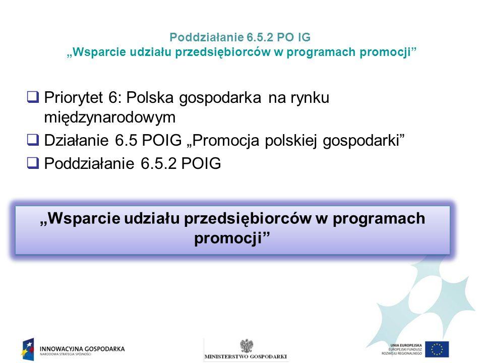 Poddziałanie 6.5.2 PO IG Wsparcie udziału przedsiębiorców w programach promocji Dofinansowanie udziału przedsiębiorców w programach promocji w ramach poddziałania 6.5.2 POIG udzielane jest na podstawie: Rozporządzenia Ministra Gospodarki z dnia 15 lipca 2010 r.