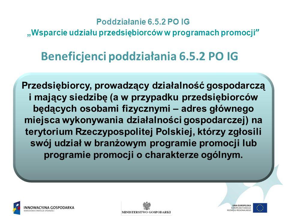 Wsparcie w ramach poddziałania 6.5.2 POIG jest przeznaczone na udział przedsiębiorców w: branżowych programach promocji oraz programach promocji o charakterze ogólnym.