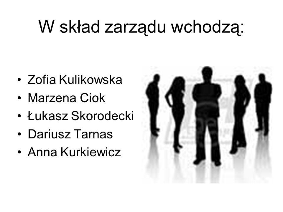 W skład zarządu wchodzą: Zofia Kulikowska Marzena Ciok Łukasz Skorodecki Dariusz Tarnas Anna Kurkiewicz