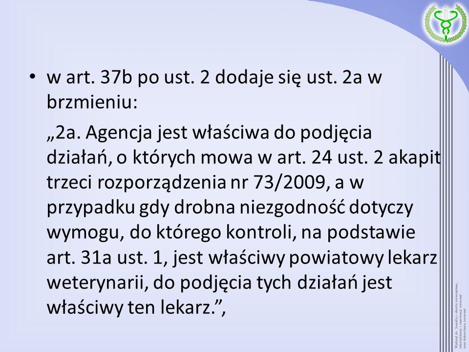 w art. 37b po ust. 2 dodaje się ust. 2a w brzmieniu: 2a. Agencja jest właściwa do podjęcia działań, o których mowa w art. 24 ust. 2 akapit trzeci rozp