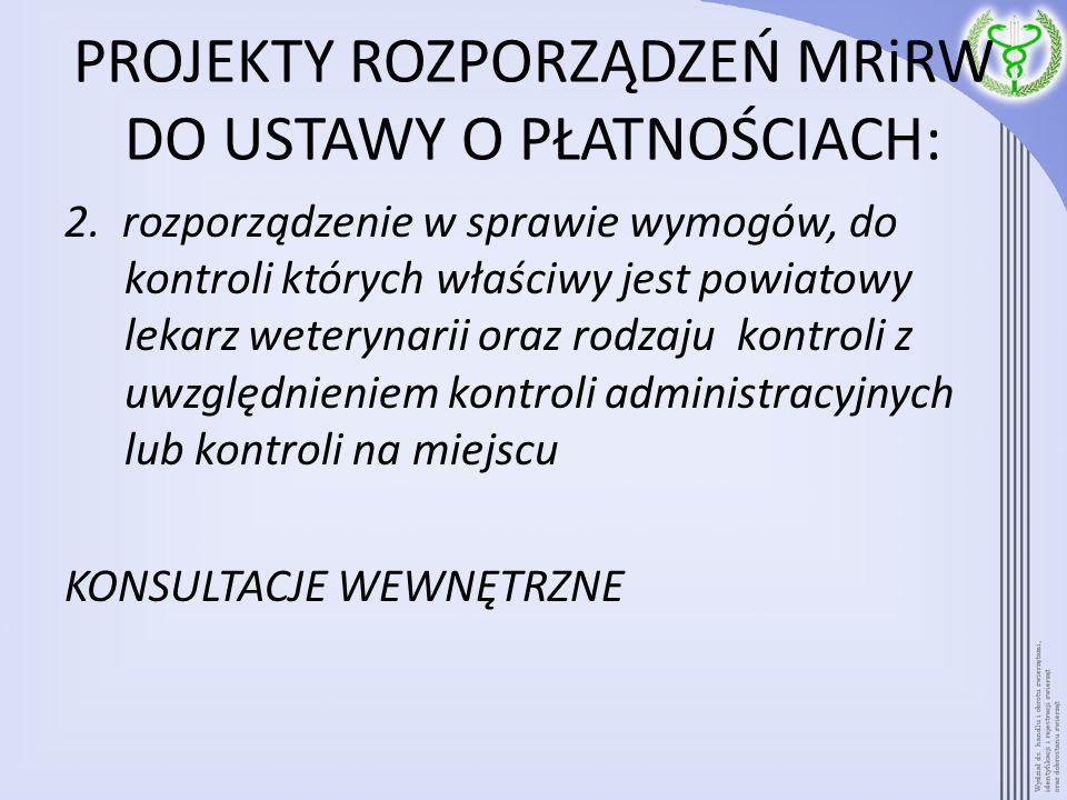 PROJEKTY ROZPORZĄDZEŃ MRiRW DO USTAWY O PŁATNOŚCIACH: 2. rozporządzenie w sprawie wymogów, do kontroli których właściwy jest powiatowy lekarz weteryna