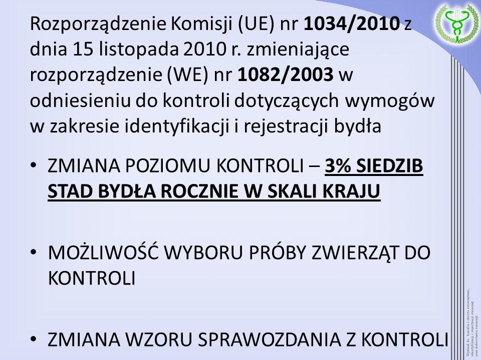 Rozporządzenie Komisji (UE) nr 1034/2010 z dnia 15 listopada 2010 r. zmieniające rozporządzenie (WE) nr 1082/2003 w odniesieniu do kontroli dotyczącyc
