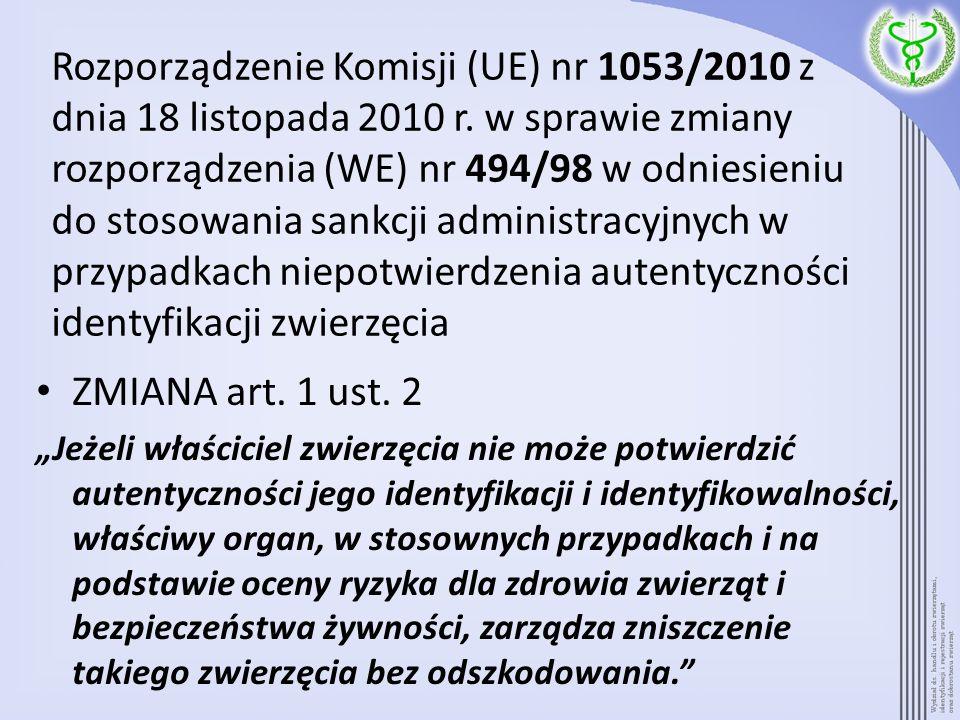 Rozporządzenie Komisji (UE) nr 1053/2010 z dnia 18 listopada 2010 r. w sprawie zmiany rozporządzenia (WE) nr 494/98 w odniesieniu do stosowania sankcj