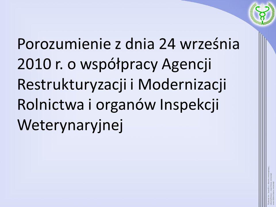 Porozumienie z dnia 24 września 2010 r. o współpracy Agencji Restrukturyzacji i Modernizacji Rolnictwa i organów Inspekcji Weterynaryjnej