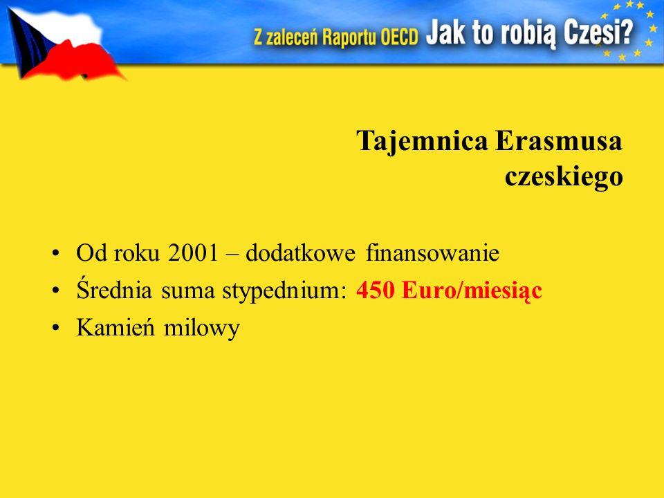 Od roku 2001 – dodatkowe finansowanie Średnia suma stypednium: 450 Euro/miesiąc Kamień milowy Tajemnica Erasmusa czeskiego