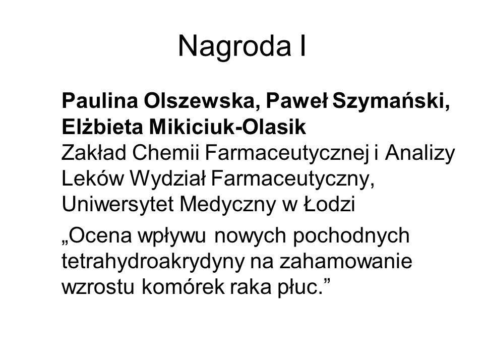 Nagroda I Paulina Olszewska, Paweł Szymański, Elżbieta Mikiciuk-Olasik Zakład Chemii Farmaceutycznej i Analizy Leków Wydział Farmaceutyczny, Uniwersyt