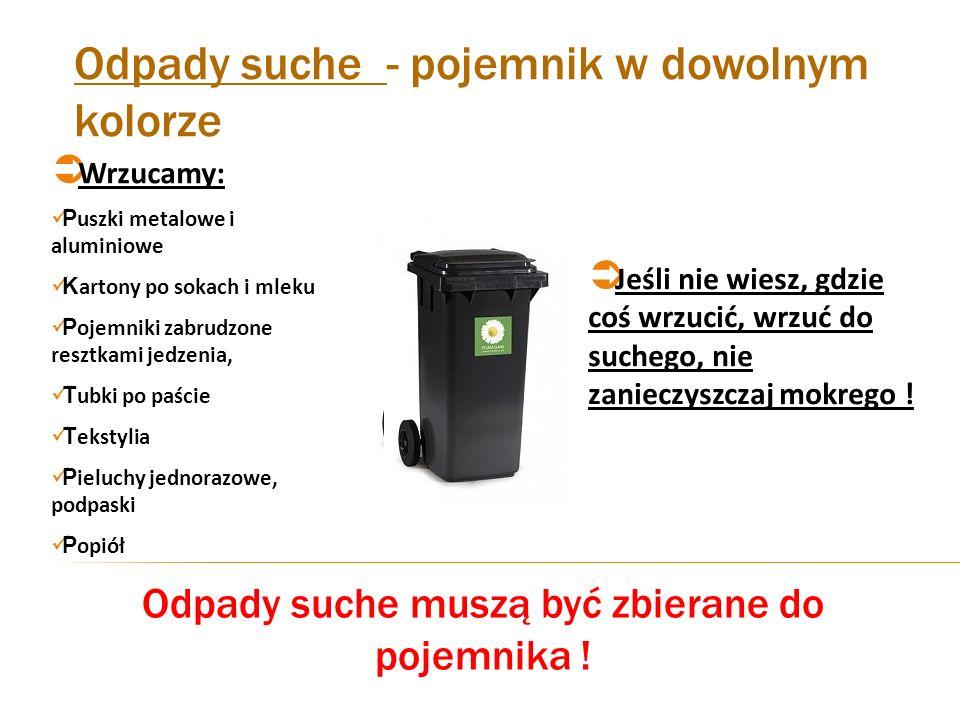 Odpady suche - pojemnik w dowolnym kolorze Wrzucamy: P uszki metalowe i aluminiowe K artony po sokach i mleku P ojemniki zabrudzone resztkami jedzenia