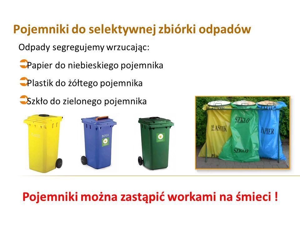 Pojemniki do selektywnej zbiórki odpadów Odpady segregujemy wrzucając: Papier do niebieskiego pojemnika Plastik do żółtego pojemnika Szkło do zieloneg