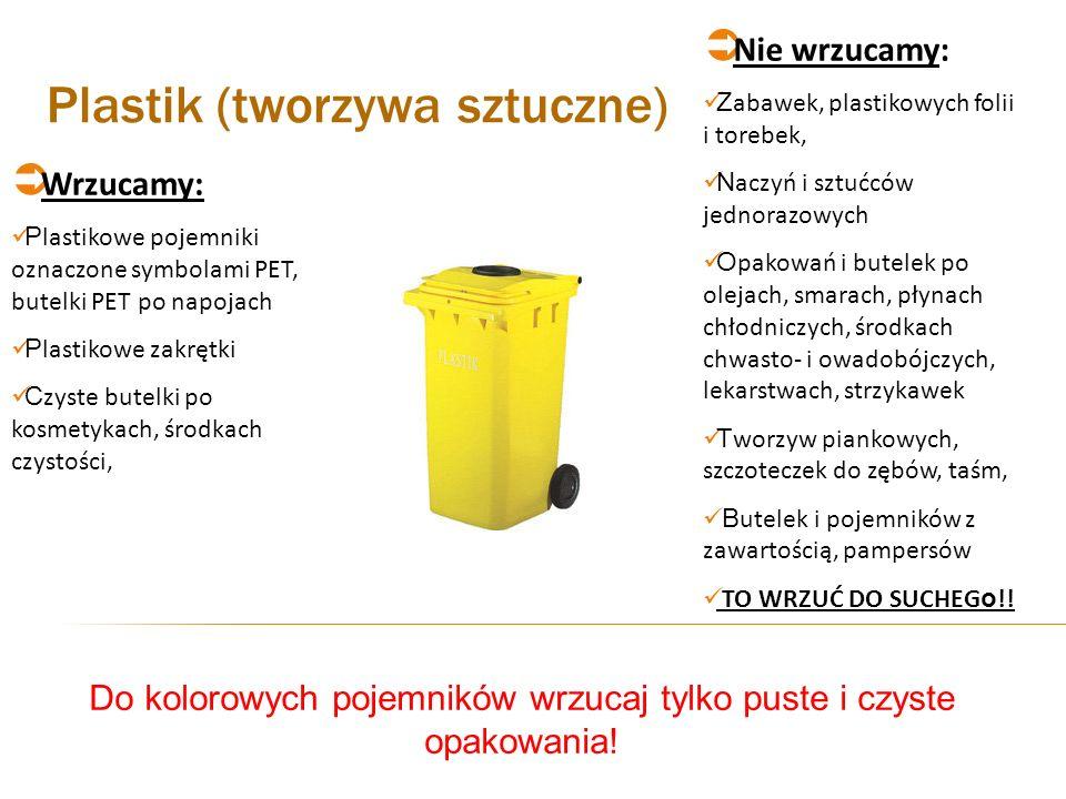 Plastik (tworzywa sztuczne) Wrzucamy: P lastikowe pojemniki oznaczone symbolami PET, butelki PET po napojach P lastikowe zakrętki C zyste butelki po k