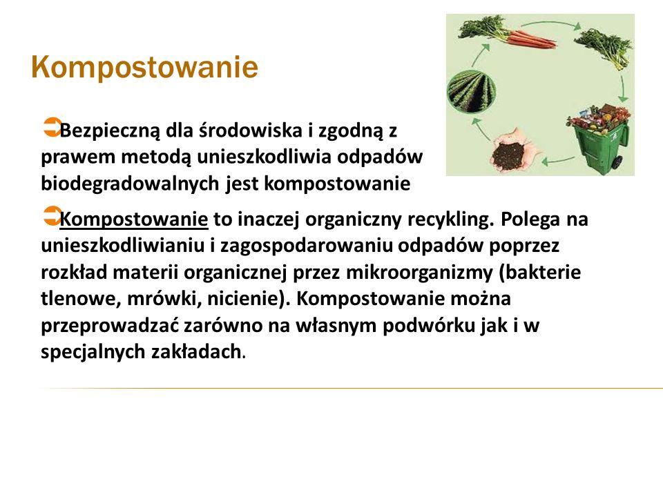Kompostowanie Bezpieczną dla środowiska i zgodną z prawem metodą unieszkodliwia odpadów biodegradowalnych jest kompostowanie Kompostowanie to inaczej