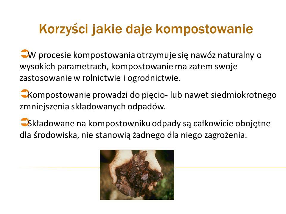 Korzyści jakie daje kompostowanie W procesie kompostowania otrzymuje się nawóz naturalny o wysokich parametrach, kompostowanie ma zatem swoje zastosow
