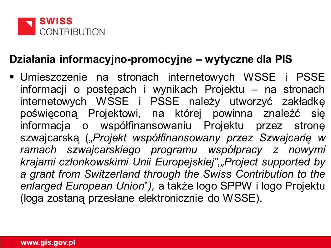 Działania informacyjno-promocyjne – wytyczne dla PIS Umieszczenie na stronach internetowych WSSE i PSSE informacji o postępach i wynikach Projektu – n