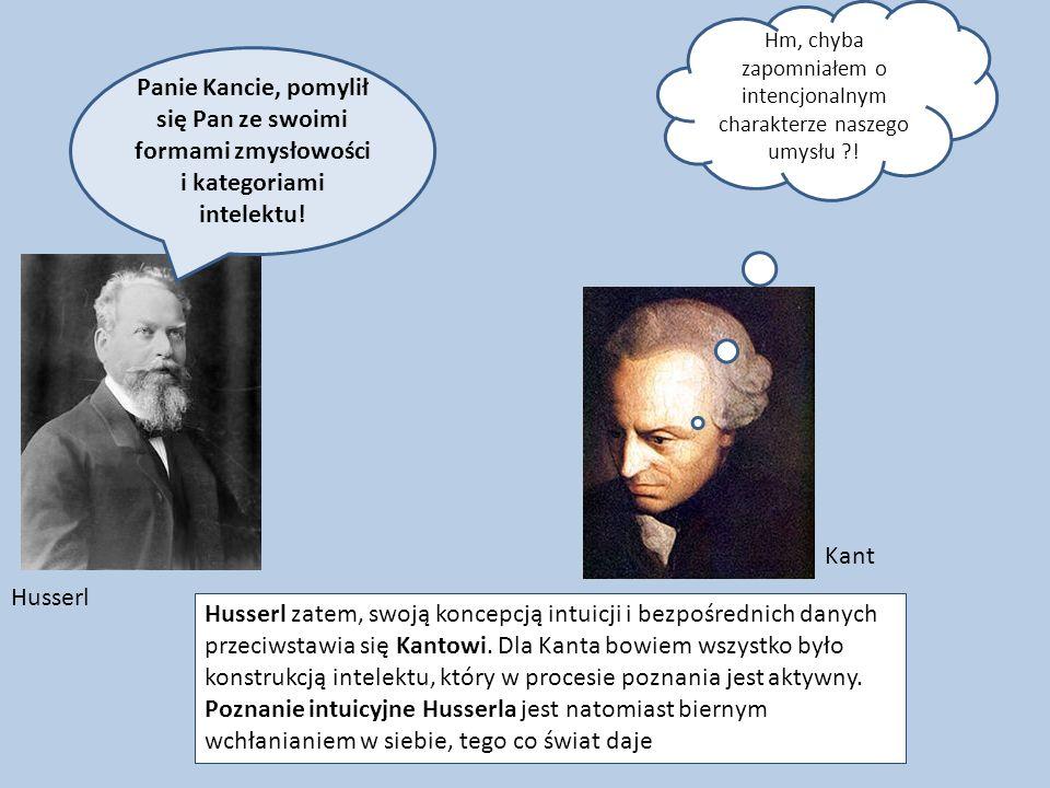 Panie Kancie, pomylił się Pan ze swoimi formami zmysłowości i kategoriami intelektu! Husserl zatem, swoją koncepcją intuicji i bezpośrednich danych pr