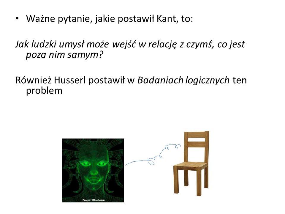 Ważne pytanie, jakie postawił Kant, to: Jak ludzki umysł może wejść w relację z czymś, co jest poza nim samym? Również Husserl postawił w Badaniach lo