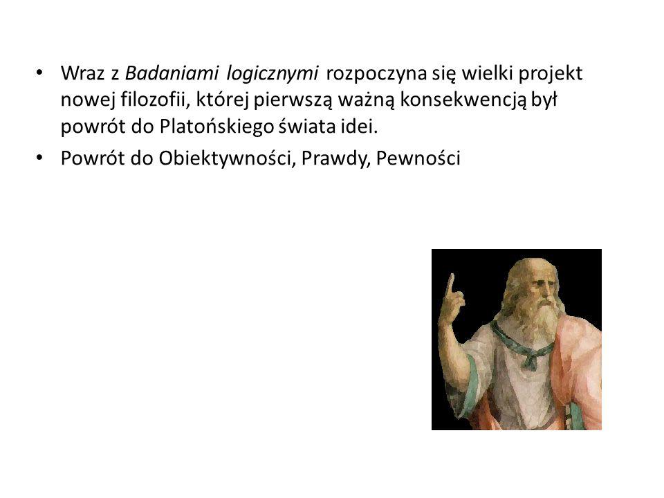 Wraz z Badaniami logicznymi rozpoczyna się wielki projekt nowej filozofii, której pierwszą ważną konsekwencją był powrót do Platońskiego świata idei.