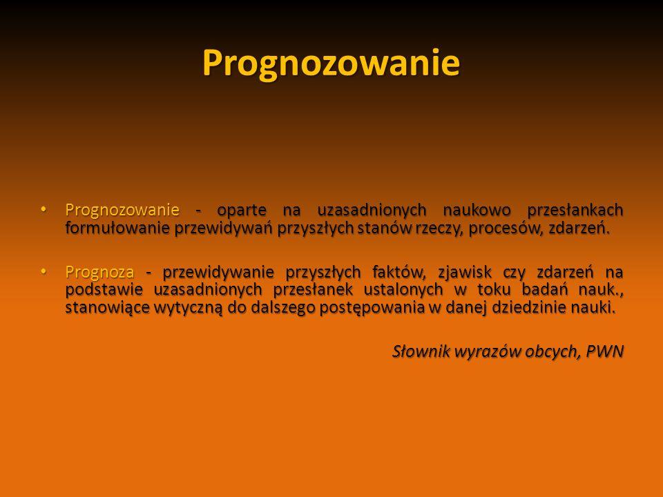 Prognozowanie Prognozowanie - oparte na uzasadnionych naukowo przesłankach formułowanie przewidywań przyszłych stanów rzeczy, procesów, zdarzeń. Progn