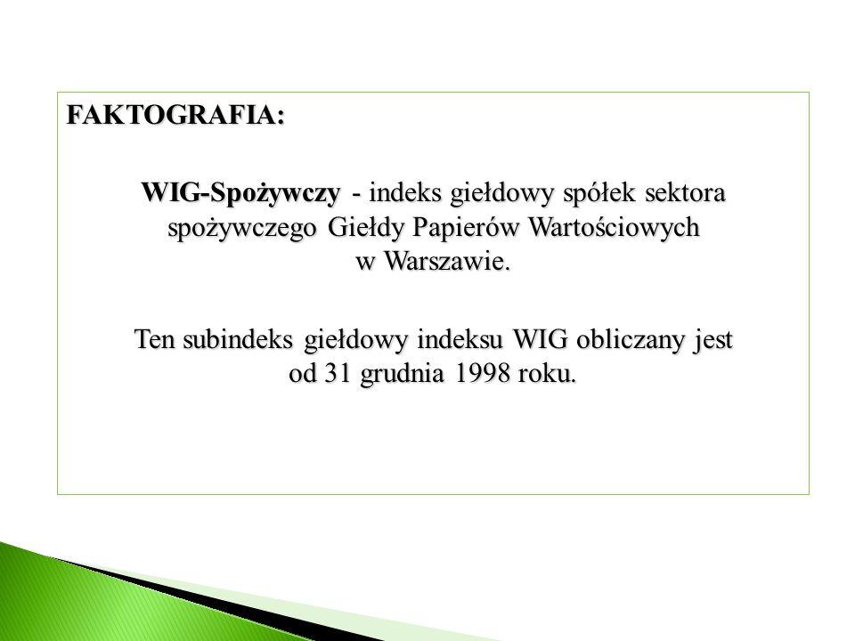 FAKTOGRAFIA: WIG-Spożywczy - indeks giełdowy spółek sektora spożywczego Giełdy Papierów Wartościowych w Warszawie. Ten subindeks giełdowy indeksu WIG
