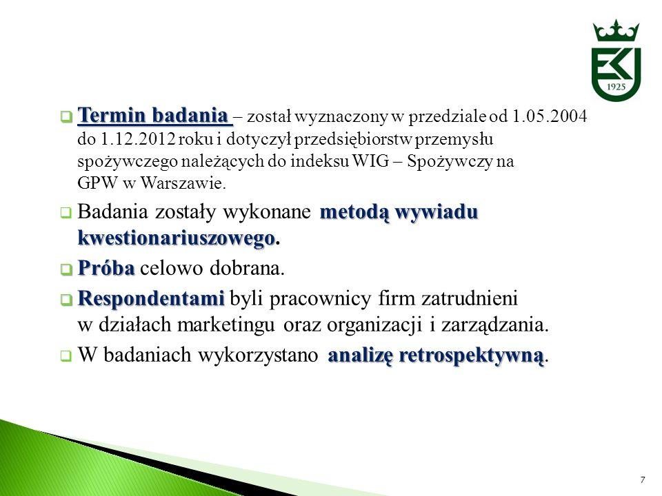 Termin badania Termin badania – został wyznaczony w przedziale od 1.05.2004 do 1.12.2012 roku i dotyczył przedsiębiorstw przemysłu spożywczego należąc