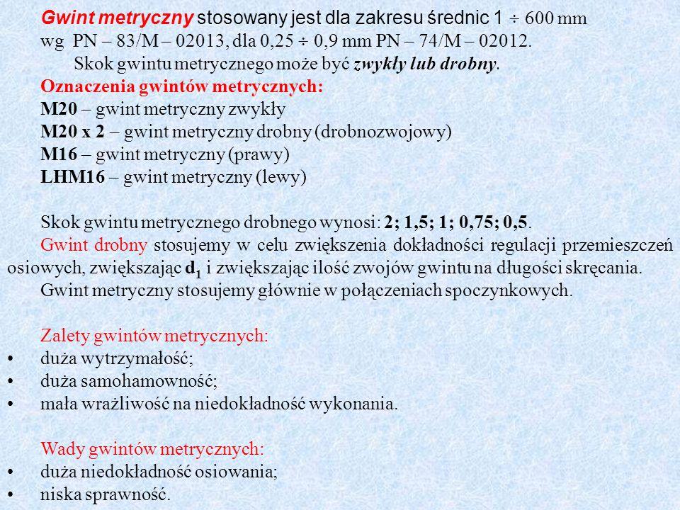Gwint metryczny stosowany jest dla zakresu średnic 1 600 mm wg PN – 83/M – 02013, dla 0,25 0,9 mm PN – 74/M – 02012. Skok gwintu metrycznego może być
