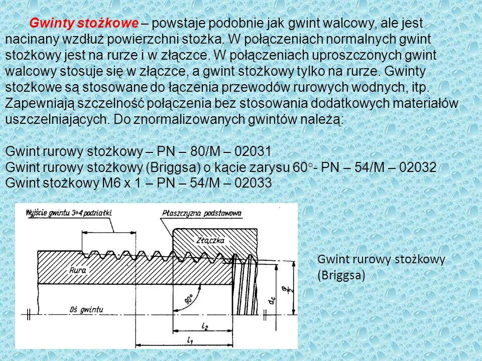 Gwinty stożkowe – powstaje podobnie jak gwint walcowy, ale jest nacinany wzdłuż powierzchni stożka. W połączeniach normalnych gwint stożkowy jest na r