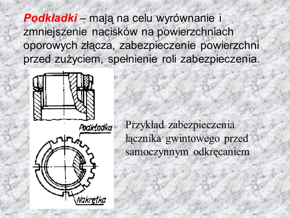 Podkładki – mają na celu wyrównanie i zmniejszenie nacisków na powierzchniach oporowych złącza, zabezpieczenie powierzchni przed zużyciem, spełnienie