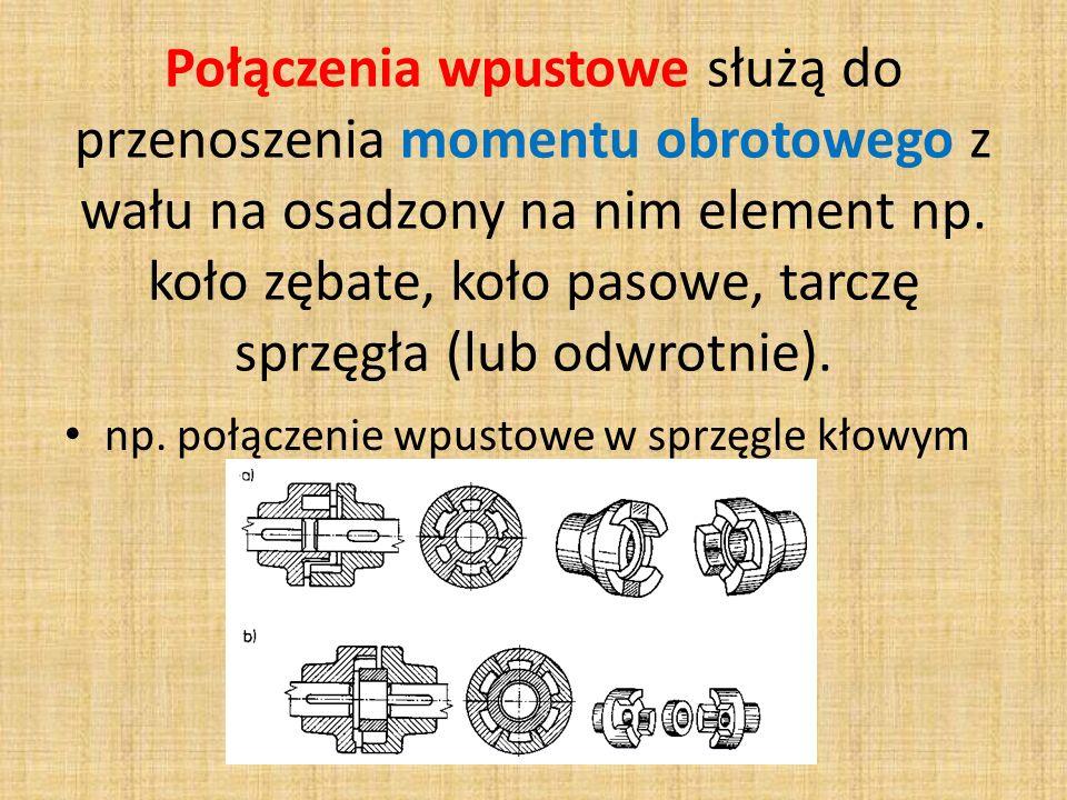 Połączenia wpustowe służą do przenoszenia momentu obrotowego z wału na osadzony na nim element np. koło zębate, koło pasowe, tarczę sprzęgła (lub odwr