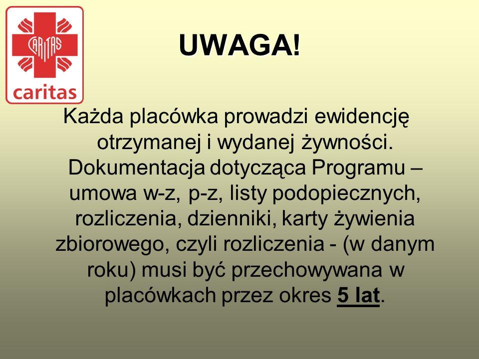 UWAGA. Każda placówka prowadzi ewidencję otrzymanej i wydanej żywności.