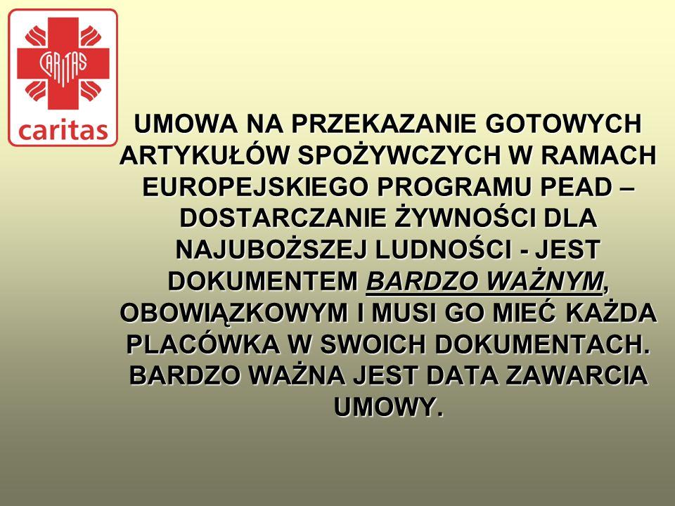UMOWA Po podpisaniu przez Caritas Archidiecezji Krakowskiej umowy z Caritas Polska, podpisuje umowy ze swoimi Partnerami/Placówkami.