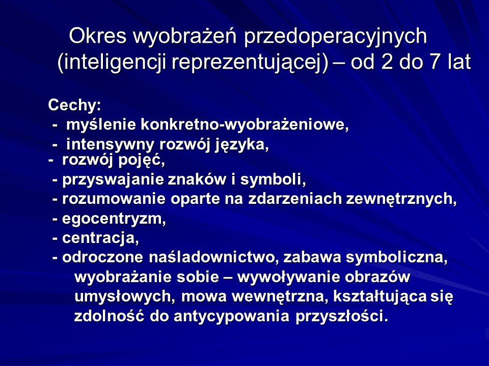 Okres wyobrażeń przedoperacyjnych (inteligencji reprezentującej) – od 2 do 7 lat Okres wyobrażeń przedoperacyjnych (inteligencji reprezentującej) – od