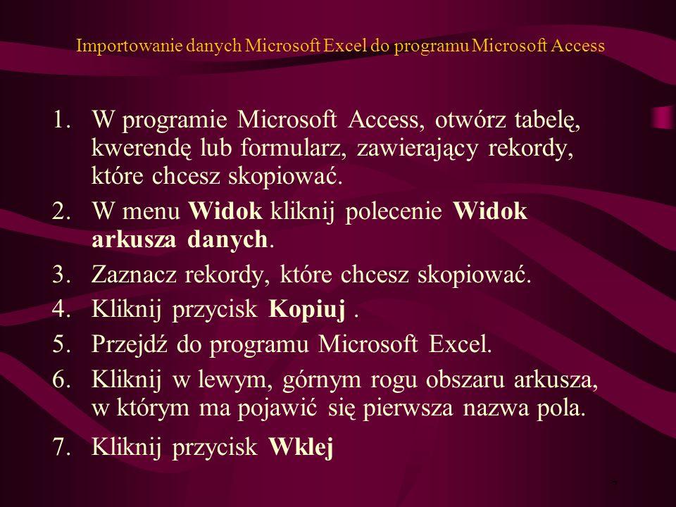 6 Kopiowanie wykresu programu Excel do dokumentu programu Word lub prezentacji programu Power Point.