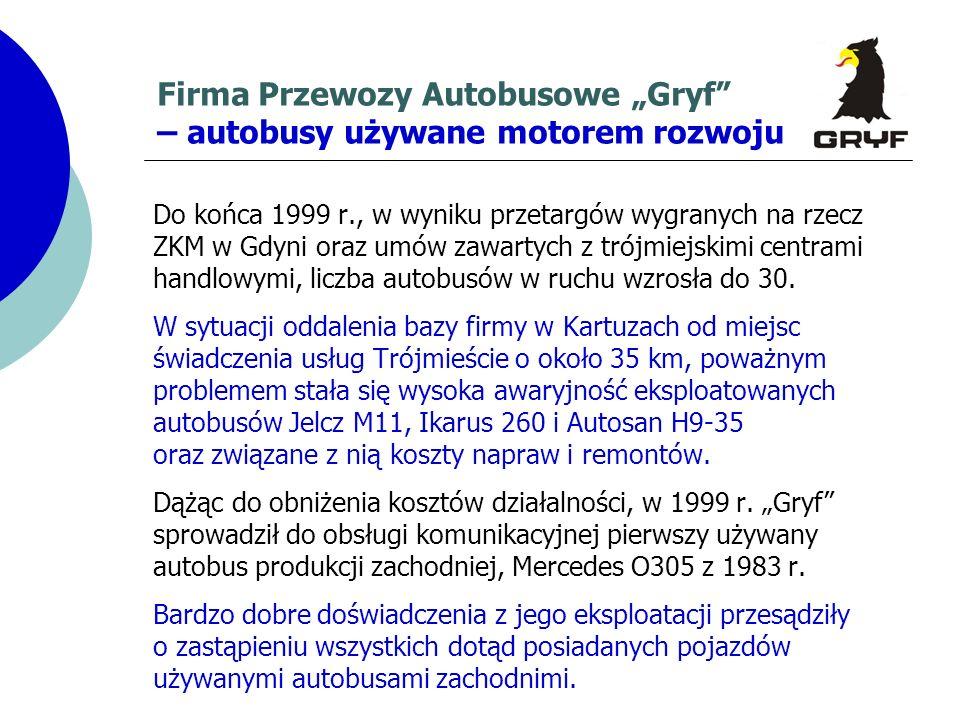 Firma Przewozy Autobusowe Gryf – autobusy używane motorem rozwoju Do końca 1999 r., w wyniku przetargów wygranych na rzecz ZKM w Gdyni oraz umów zawar