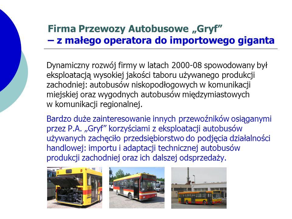 Firma Przewozy Autobusowe Gryf – z małego operatora do importowego giganta Dynamiczny rozwój firmy w latach 2000-08 spowodowany był eksploatacją wysok