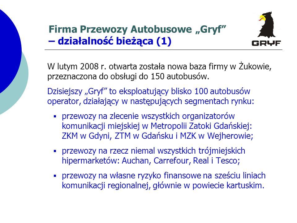 Firma Przewozy Autobusowe Gryf – działalność bieżąca (1) W lutym 2008 r. otwarta została nowa baza firmy w Żukowie, przeznaczona do obsługi do 150 aut