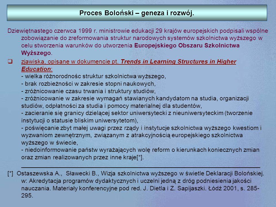 Deklaracja Bolońska Centralną rolę szkół wyższych w budowie kulturalnego obszaru Europy podkreśliła wspomniana wcześniej Deklaracja Bolońska z dnia 19 czerwca 1999 r., podpisana także przez Rzeczpospolitą Polską, gdzie zawarto stwierdzenie: Mając na względzie konkurencyjność europejskich systemów edukacji na arenie międzynarodowej, zobowiązujemy się do: utworzenia obszaru wykształcenia europejskiego w celu podniesienia zatrudnienia i mobilności obywateli oraz zwiększenie międzynarodowej konkurencyjności europejskiego wykształcenia wyższego.